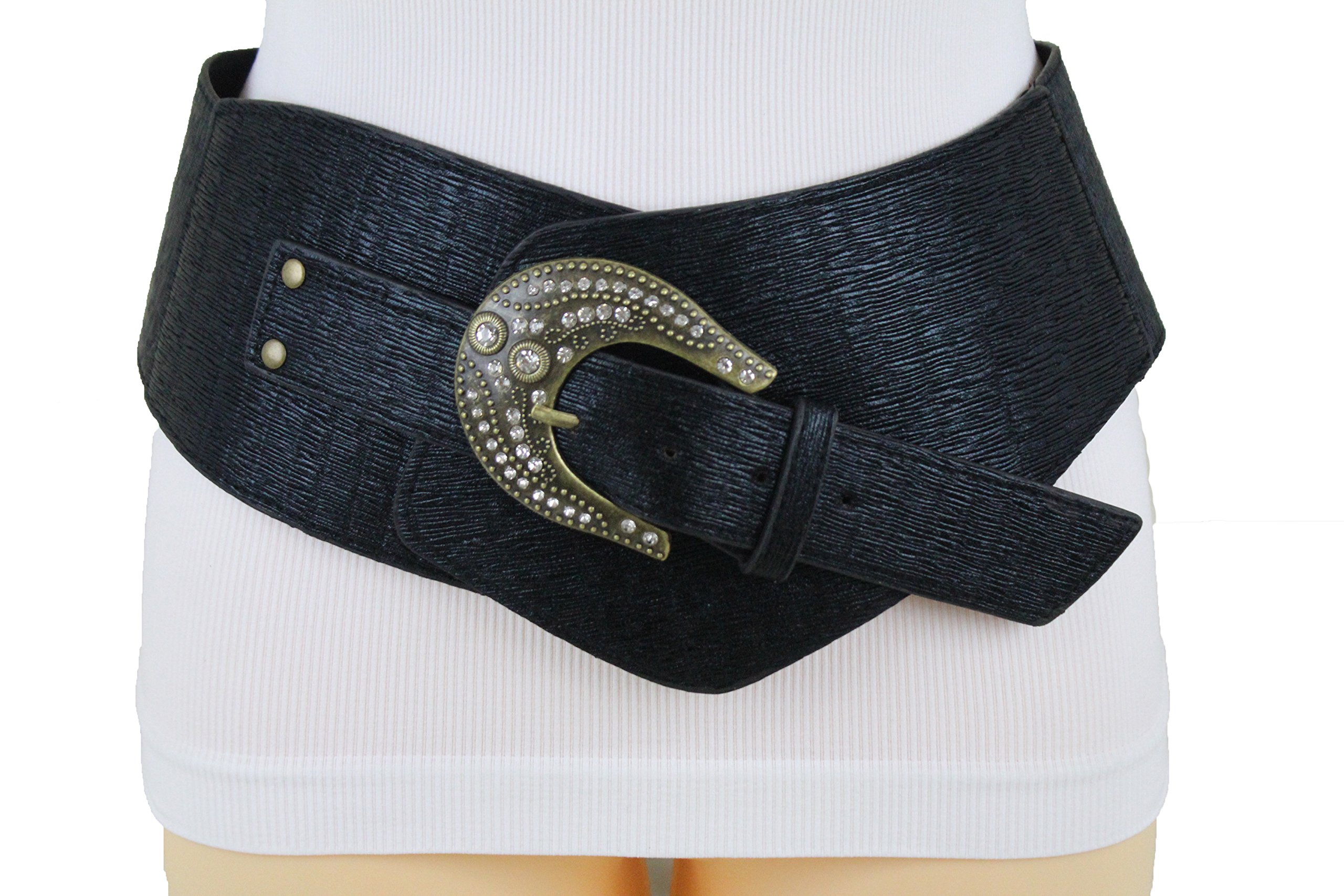 TFJ Women Wide Western Fashion Belt Hip Waist Black Faux Leather Plus Size XL XXL