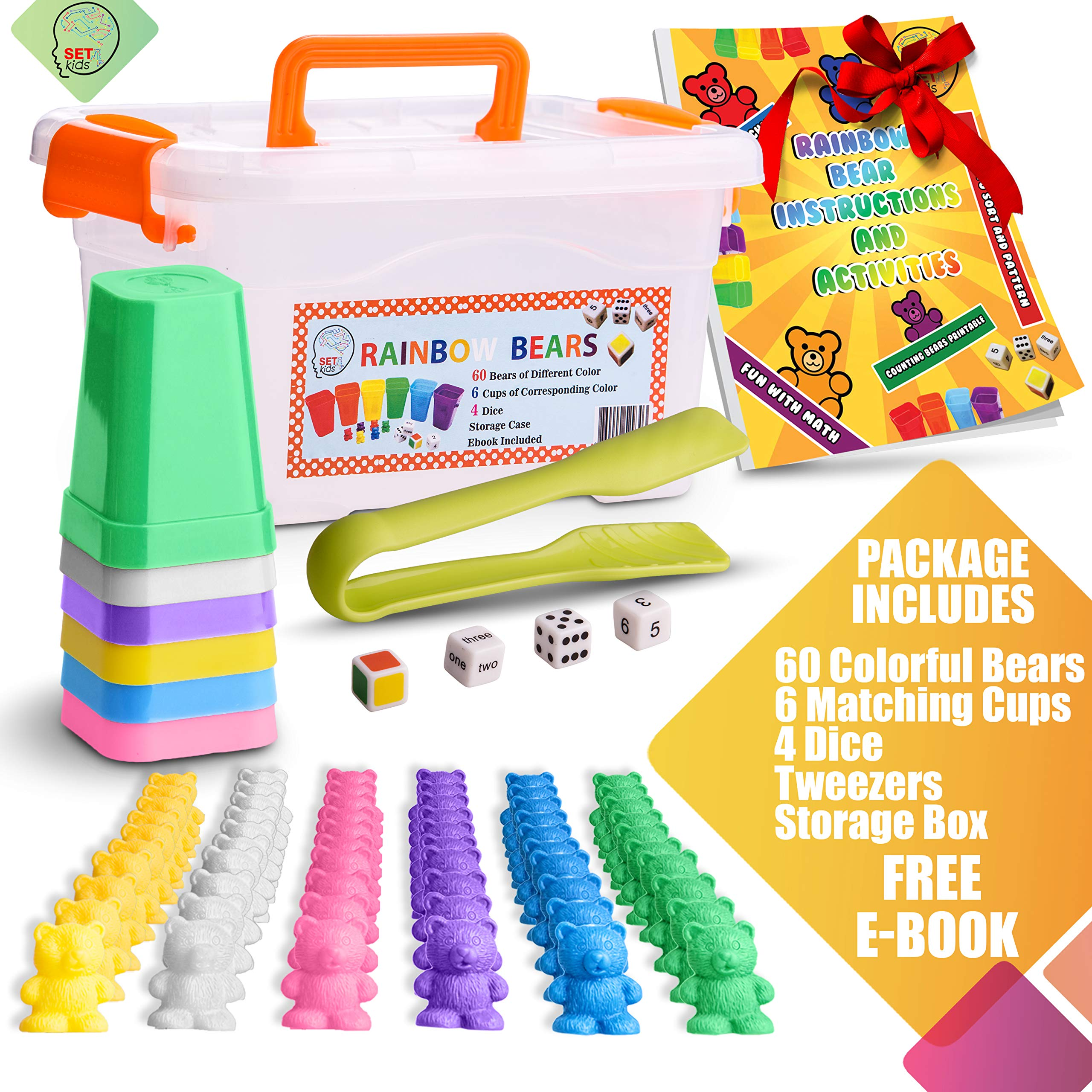 SET4kids Counting Bears with Matching/Sorting Cups, 4 Dice ,Tweezers and an Activity e-Book. for Toddlers and Early Childhood Education. 71 pc Game Set in Pastel Colors. by SET4kids