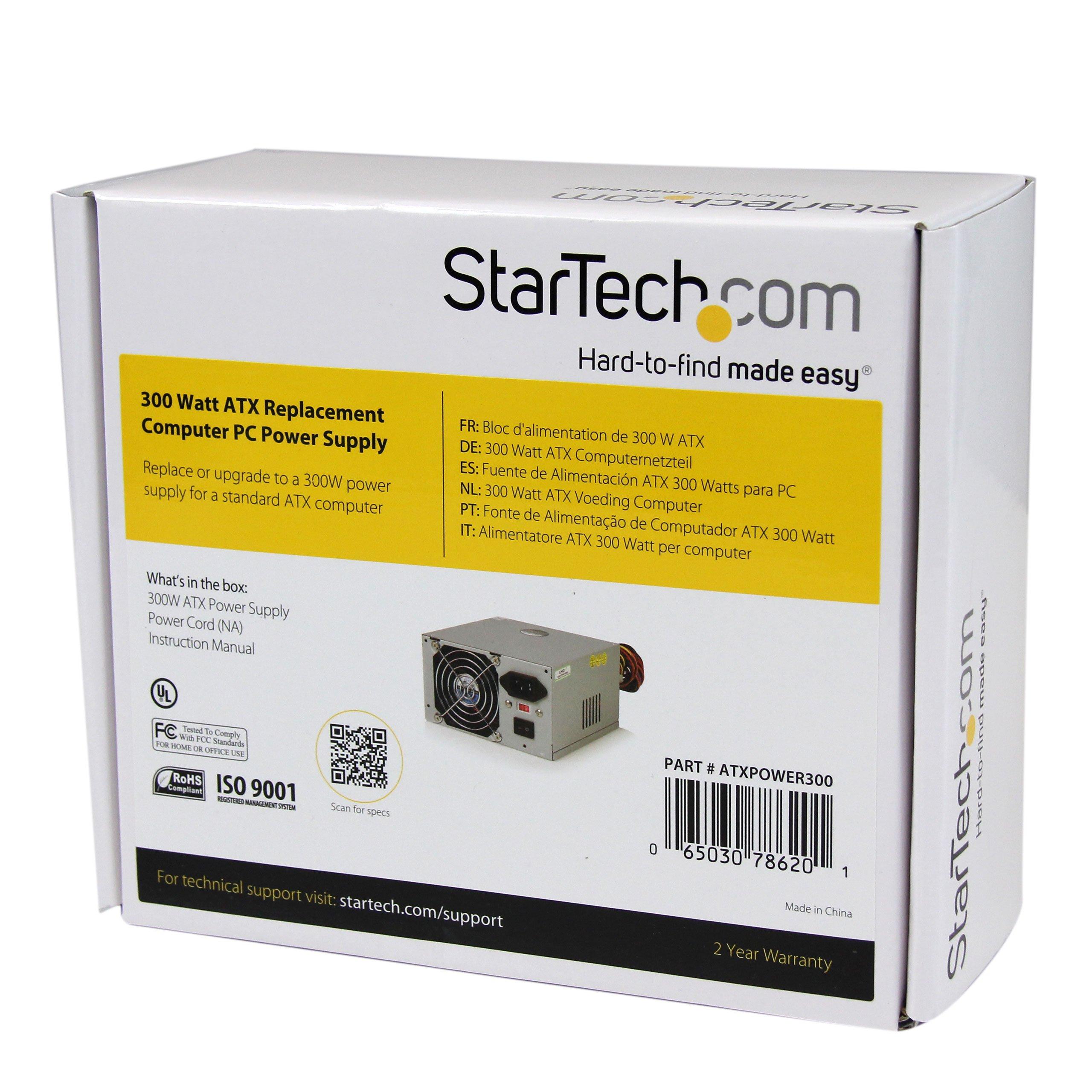 StarTech.com Computer Power supply ( internal ) - ATX - AC 115/230 V - 300 Watt - 9 output connector(s) (ATXPOWER300) by StarTech