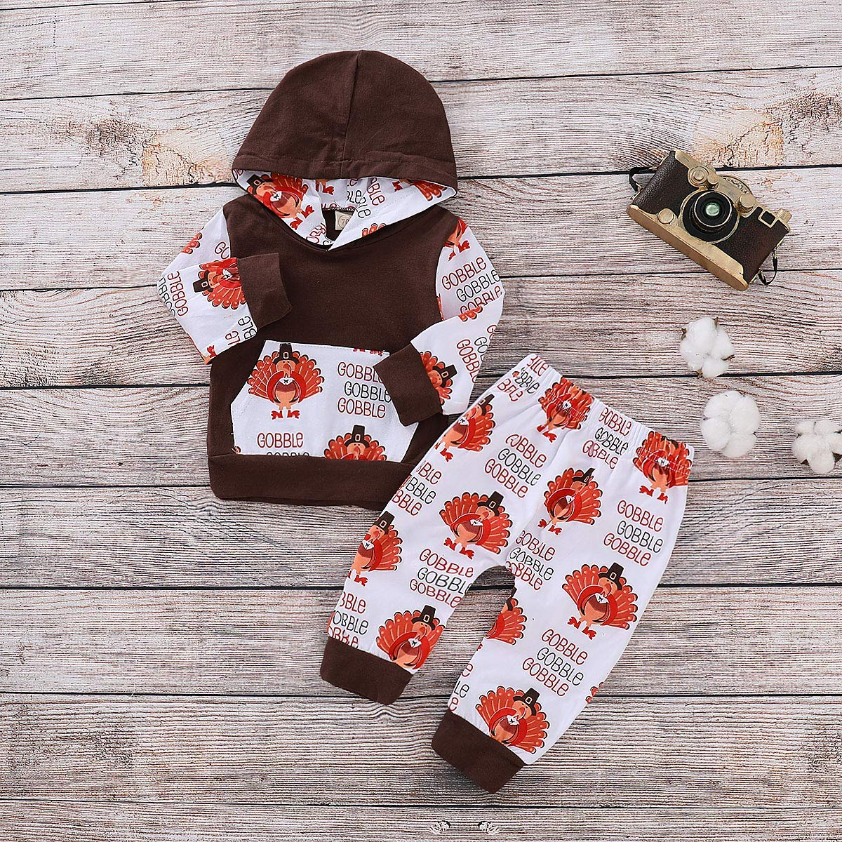 Turkey Pant Clothes Set Baby Thanksgiving Outfit Newborn Boys Girls Turkey Print Romper Infant Hooded Pocket Tops