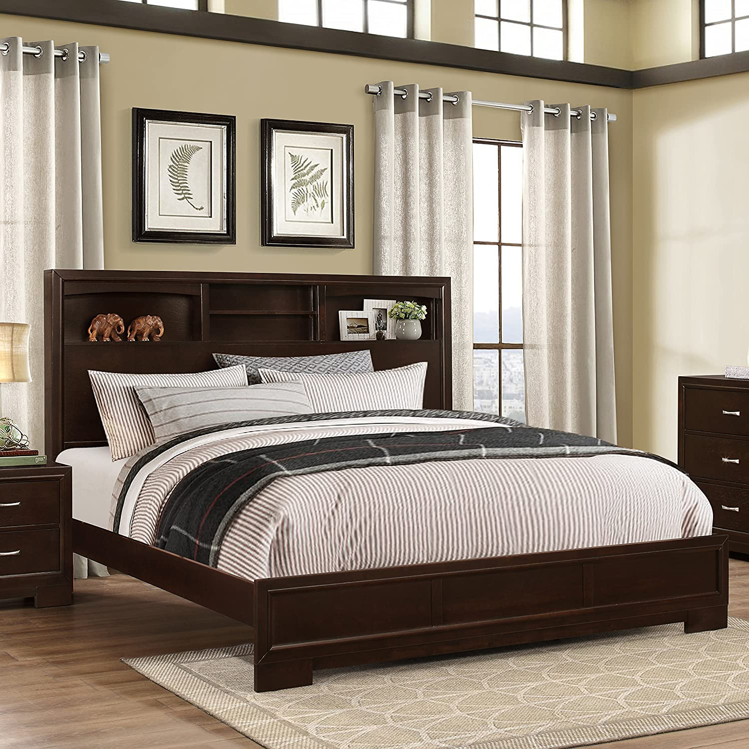 modern wood bedroom furniture. Amazon.com: Roundhill Furniture Montana Modern 5-Piece Wood Bedroom Set With Bed, Dresser, Mirror, Nightstand, Chest, King, Walnut: Kitchen \u0026 Dining
