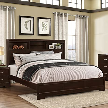 Marvelous Roundhill Furniture Montana Modern Wood Bookcase Bed, King, Walnut