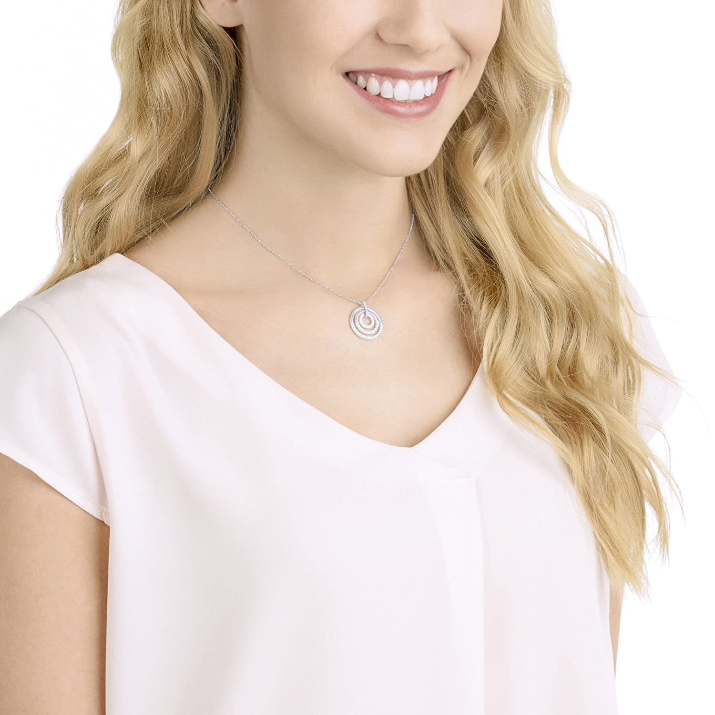 Swarovski Crystal Medium White Rhodium-Plated Circle Pendant Necklace