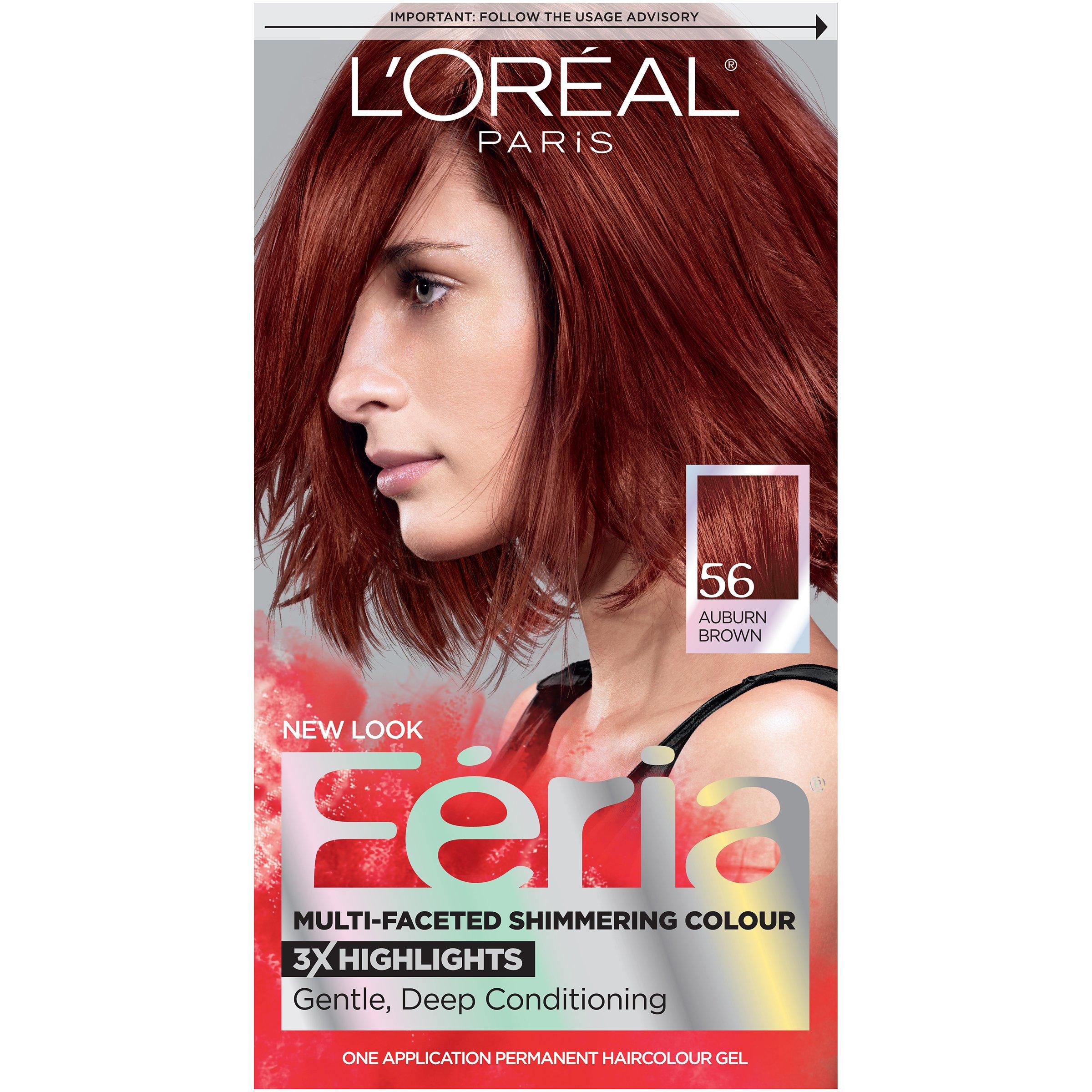 L'Oréal Paris Feria Permanent Hair Color, 56 Brilliant Bordeaux (Auburn Brown)