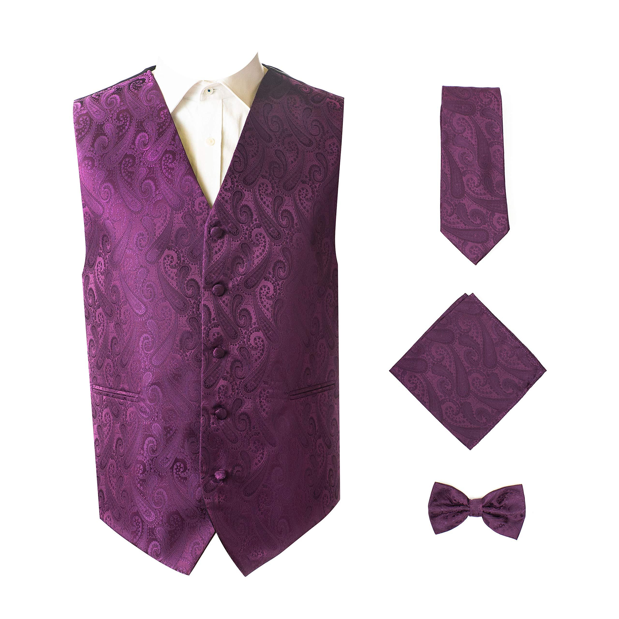 4pc Paisley Vest Set-Dark Purple-M by Oliver George