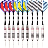 MAXMAU Steel Tip Darts Professional Dart Set Dart Pack with Nice Dart Flights and Durable Dart Shafts 9 / 18 pcs