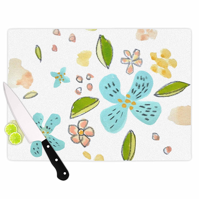 KESS InHouse Jennifer RizzoBlue Garden Flowers Floral White Cutting Board 11.5 x 15.75 Multicolor