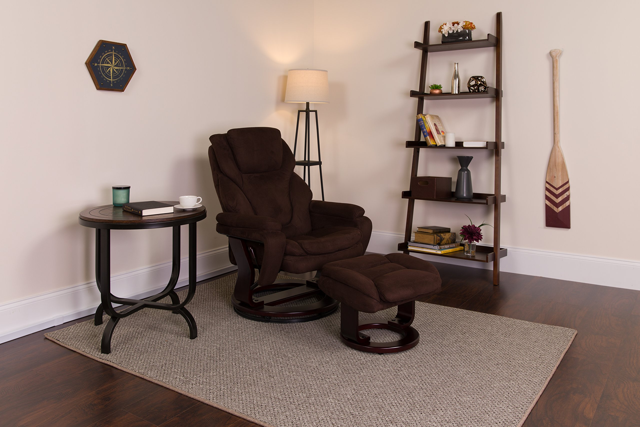 Flash Furniture Contemporary Brown Microfiber Recliner and Ottoman with Swiveling Mahogany Wood Base