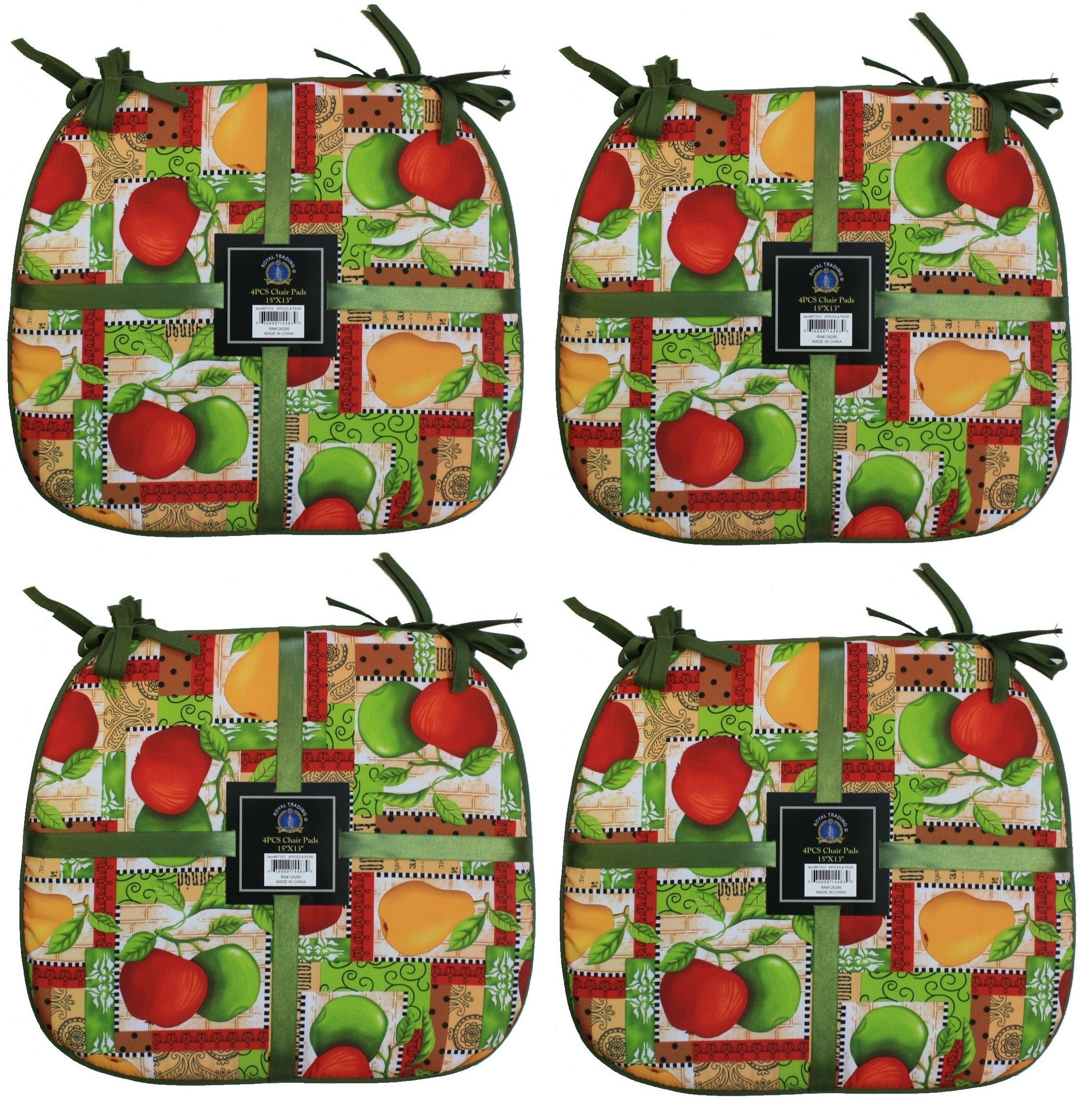 Elegant Sponge Cushion Chair Pads with Ties -15'' X 13''- Set of 4 (Apples and Pears)