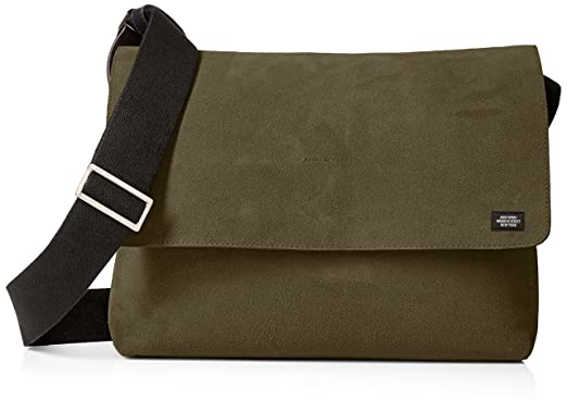 Amazon.com: Jack Spade Men's Suede Site Messenger, Covert Green ...