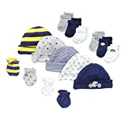 Gerber Baby-Boys Newborn Sports 15 Piece Socks Caps and Mittens Essential Gift Set, Sports,Yellow Sports, 0-3 (Cap 0-6M)