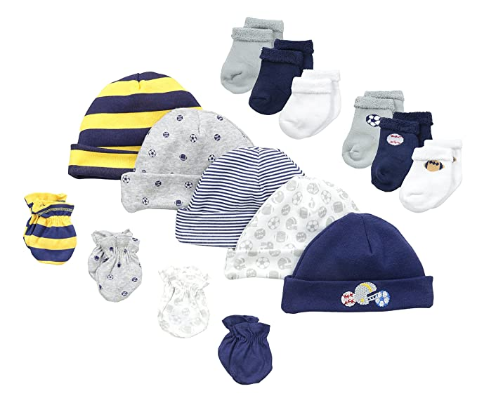 Gerber Baby-Boys Newborn Sports 15 Piece Socks Caps and Mittens Essential  Gift Set 5266b196cb3