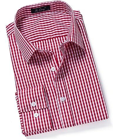 IYFBXl Camisa Casual de Manga Larga a Cuadros pequeños, para ...