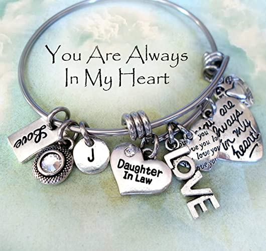 16d0029aae813 Amazon.com: Daughter In Law Bangle, Always In My Heart, Love You ...