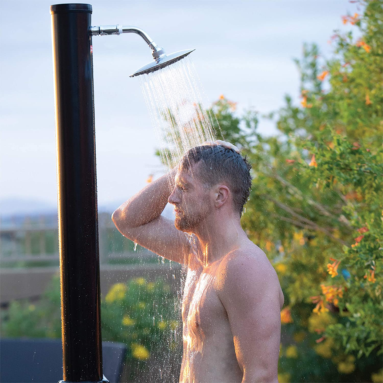 "GAME Outdoor Solar Shower with Base, Solar Powered Shower, Connects to Standard Garden Hose, Hot and Cold Adjustment, Holds 5.5 Gallons of Water, Freestanding or Mounts, 75"" T x 4"" W"