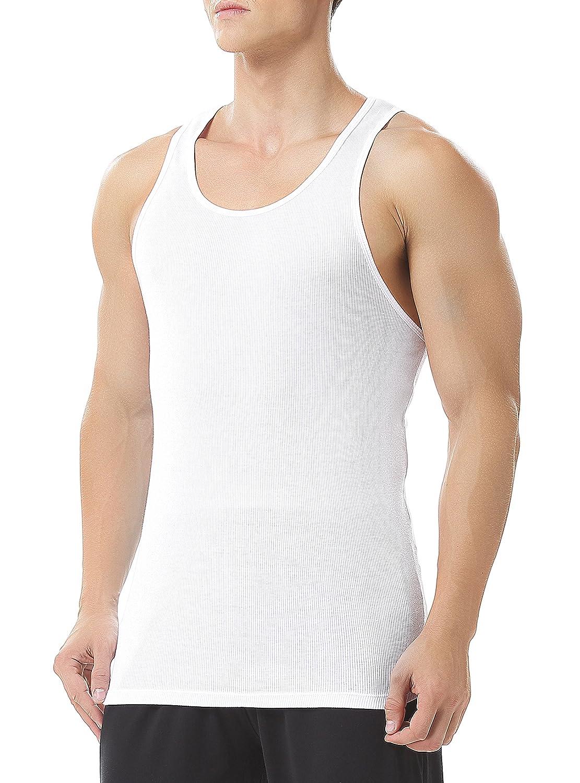 Genuwin Men's Cotton Vests 3 Pack Sleeveless Tank Tops Classic Rib Undershirt