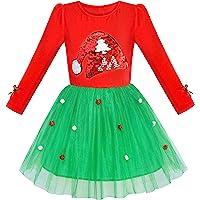 Girls Dress Christmas Santa Hat Long Sleeve Party Dress Size 6-12 Years