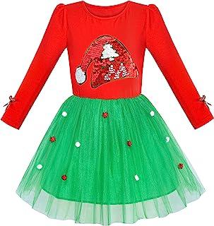 Sunny Fashion Vestito Bambina Natale Cappello di Babbo Natale Manica Lunga Festa 6-12 Anni