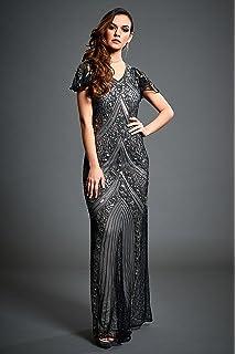 Lima – Embellished 20S Gatsby Grey Floral Evening Maxi Dress