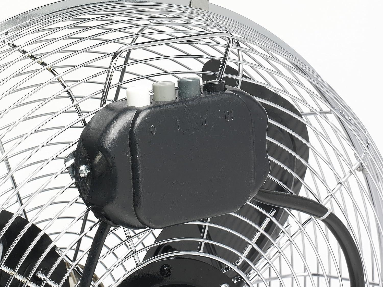 /Ø 45 cm Bestron Bodenventilator im Retro-Stil 100 W H/öhe: 46,5 cm Chrom Mit neigbarem Ventilatorkopf