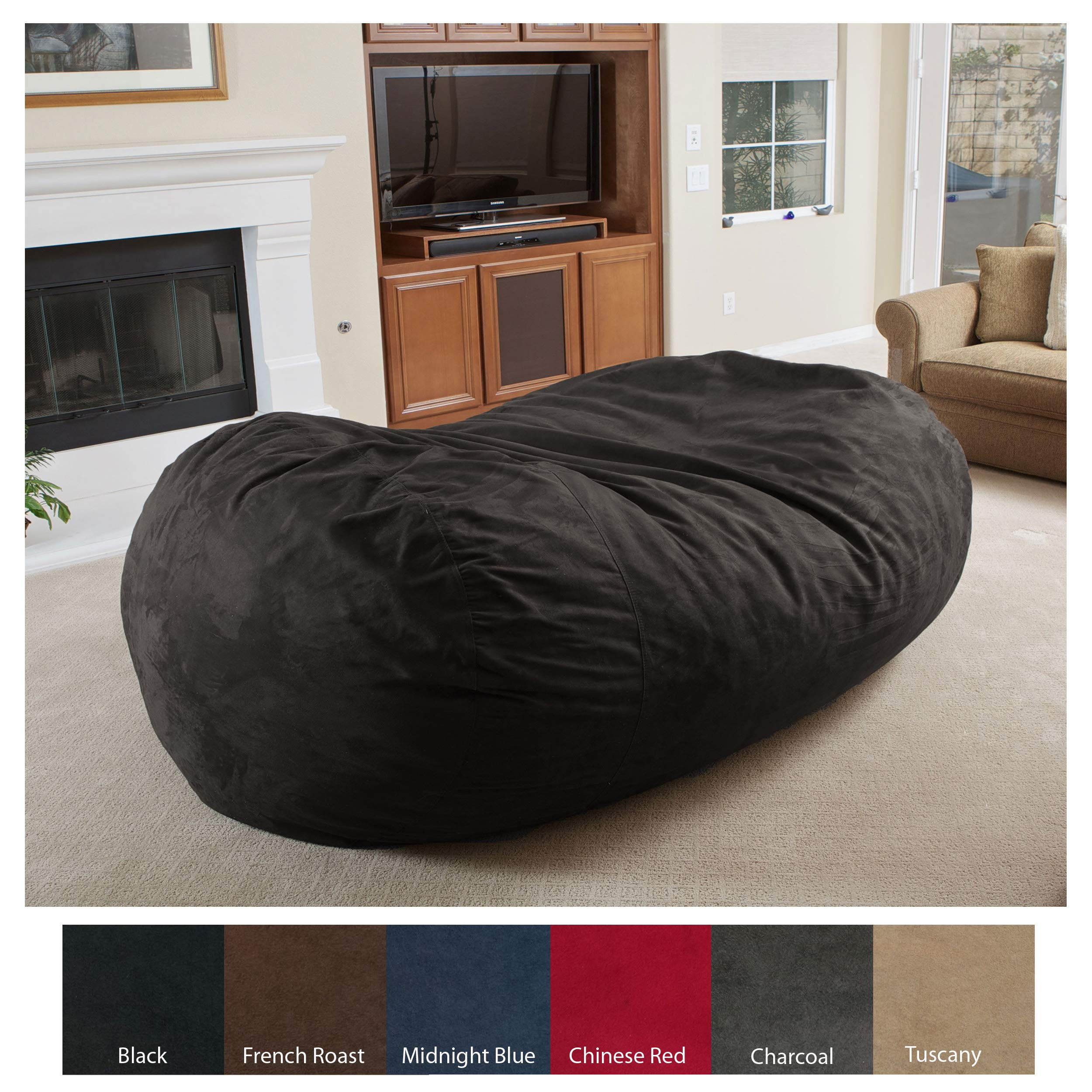 Christopher Knight Home 294973 David Faux Suede 8 Feet Lounger Bean Bag (Black)
