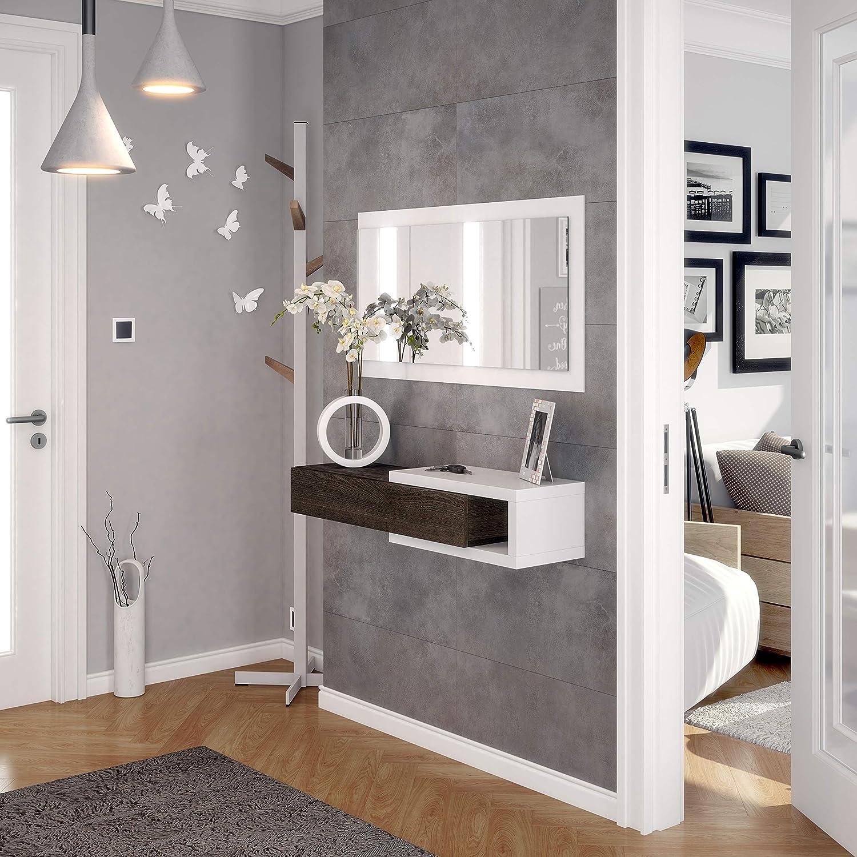Habitdesign - Recibidor con cajón + Espejo, Medidas 19 x 95 x 26 cm de Fondo (Blanco Brillo y Toscana)