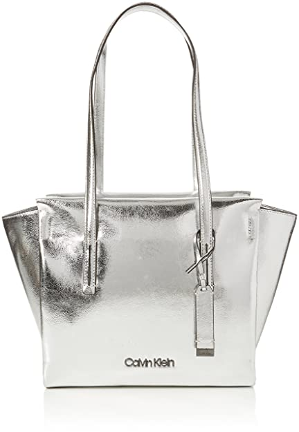 0e51e5914c Calvin Klein Jeans Frame Medium Shopper M, Women's Tote, Silver (Metallic),