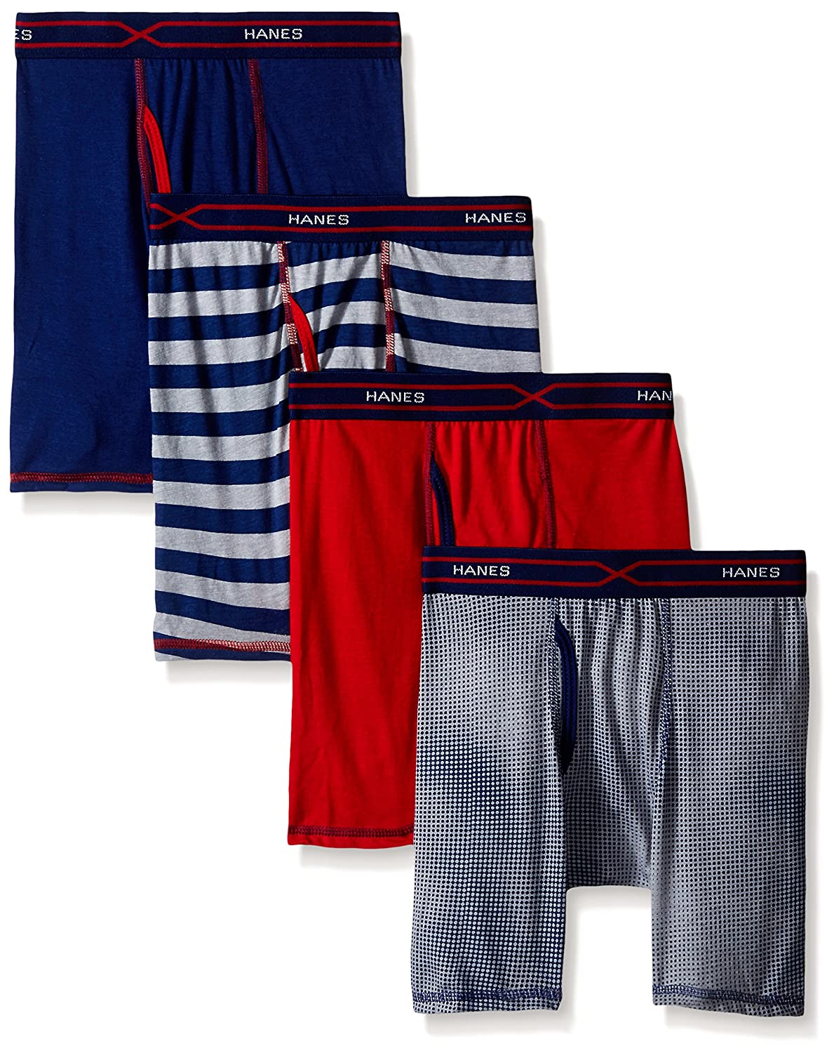 Hanes boys Toddler Boys 4-pack X-temp Long Legged Dyed Boxer Brief Hanes Girls 7-16 Underwear BX6LP4