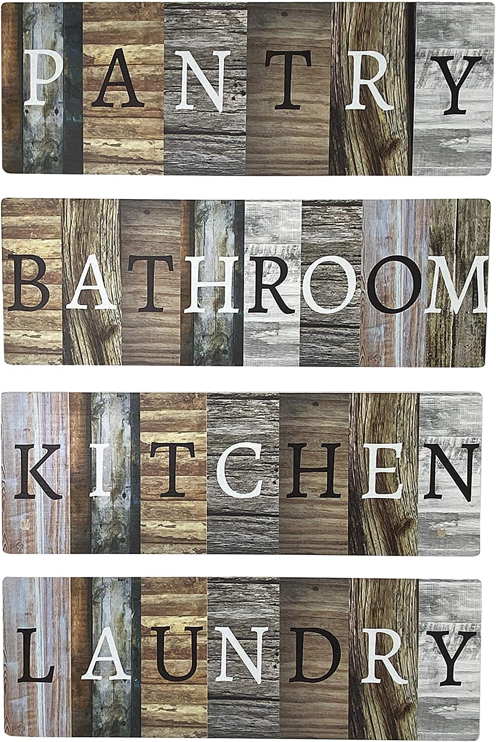 Laundry Room, Kitchen, Bathroom, Pantry Sign Rustic Farmhouse Decorative 4 Piece Set - Solid Wood 17 x 6 Inch Home Decor Wall Art Signs for The Home