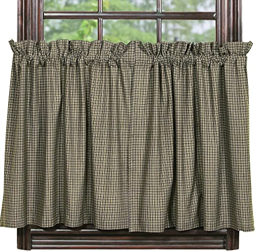 IHF New Vintage Star Black 24 Tiers Window Treatments Unlined 100 Cotton 72 Inch x 24 Inch