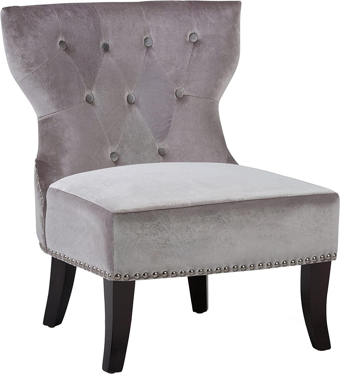 SIMPLIHOME Kitchener 28 inch Wide Traditional Accent Slipper Chair in Grey Velvet