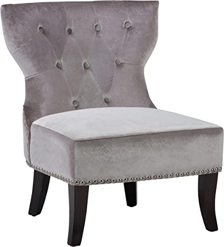 Simpli Home AXCKITS73O5G Kitchener Traditional Accent Slipper Chair Velvet Grey 28 inch Wide
