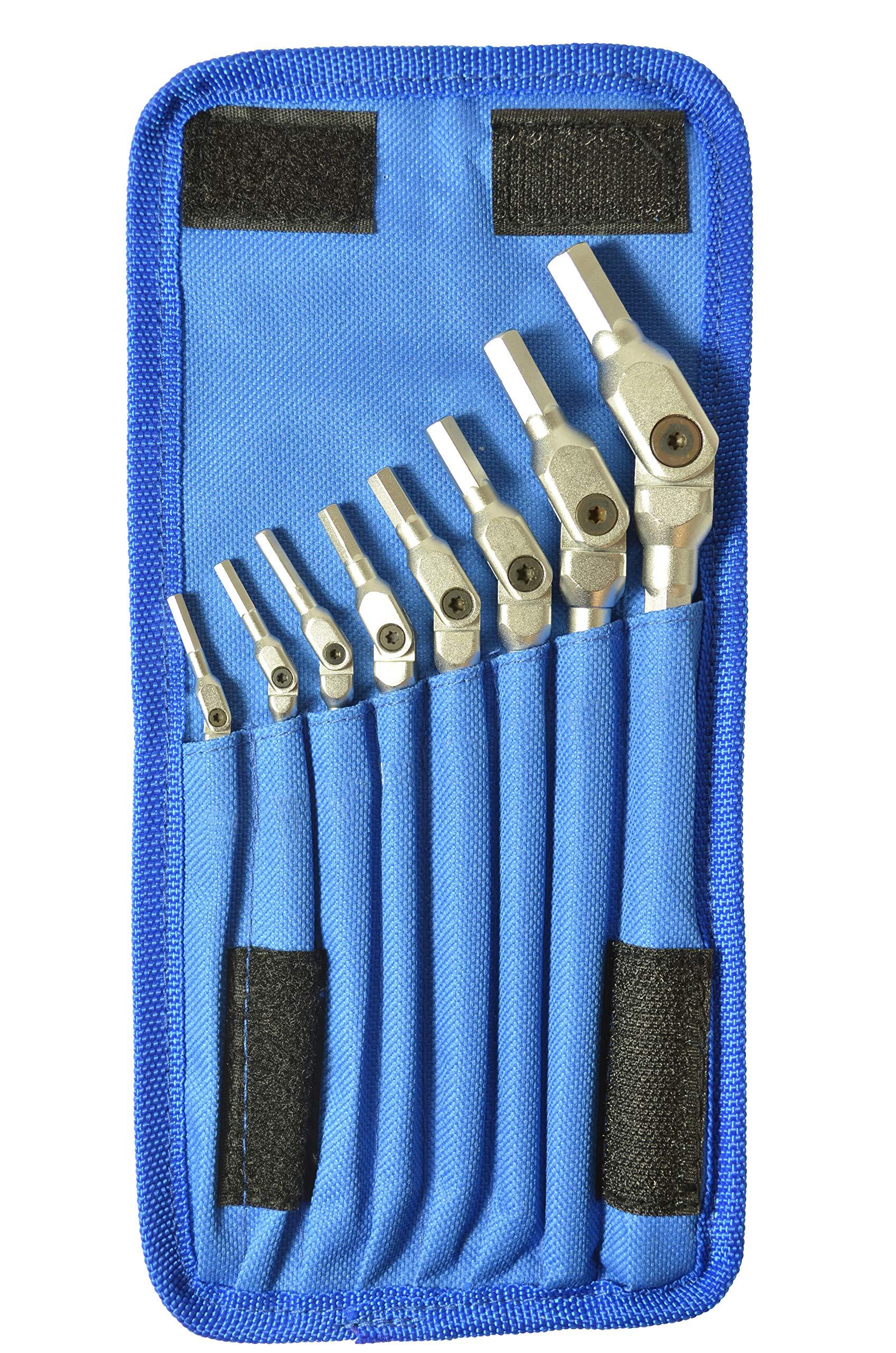 Bondhus 00017 HEX-PRO Pivot Head Wrench Set, Includes Sizes: 1/8, 9/64, 5/32, 3/16, 7/32, 1/4, 5/16 & 3/8'' (8 Piece), Chrome by Bondhus