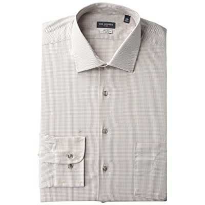 Van Heusen Men's Size Tall Fit Dress Shirts Flex Collar Stretch Check at Men's Clothing store