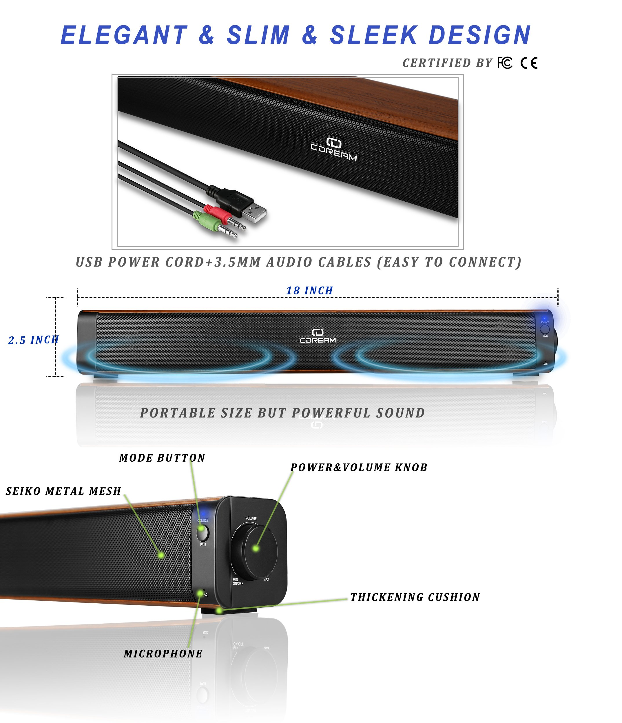 Sound Bar Bluetooth Speaker Soundbar Wired And Wirless 18'' Bluetooth Computer Speaker With Subwoofer Surround Stereo Sound USB Powered For Computer Laptop Desktop Cellphone Tablet Game Echo by CD CDREAM (Image #5)