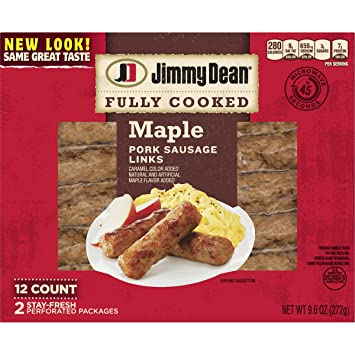 Jimmy Dean, Fully Cooked Pork Sausage Links, Maple, 9 6 oz