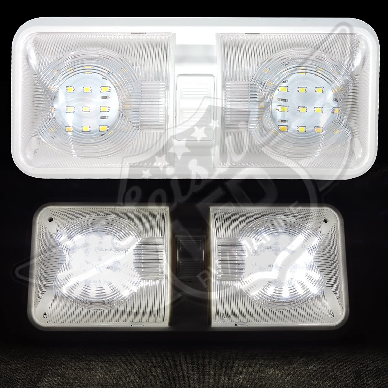 Leisure LED 2 Pack RV LED Ceiling Double Dome Light Fixture with ON//Off Switch Interior Lighting for Car//RV//Trailer//Camper//Boat DC 11-18V Natural White Natural White 4000-4500K, 2-Pack