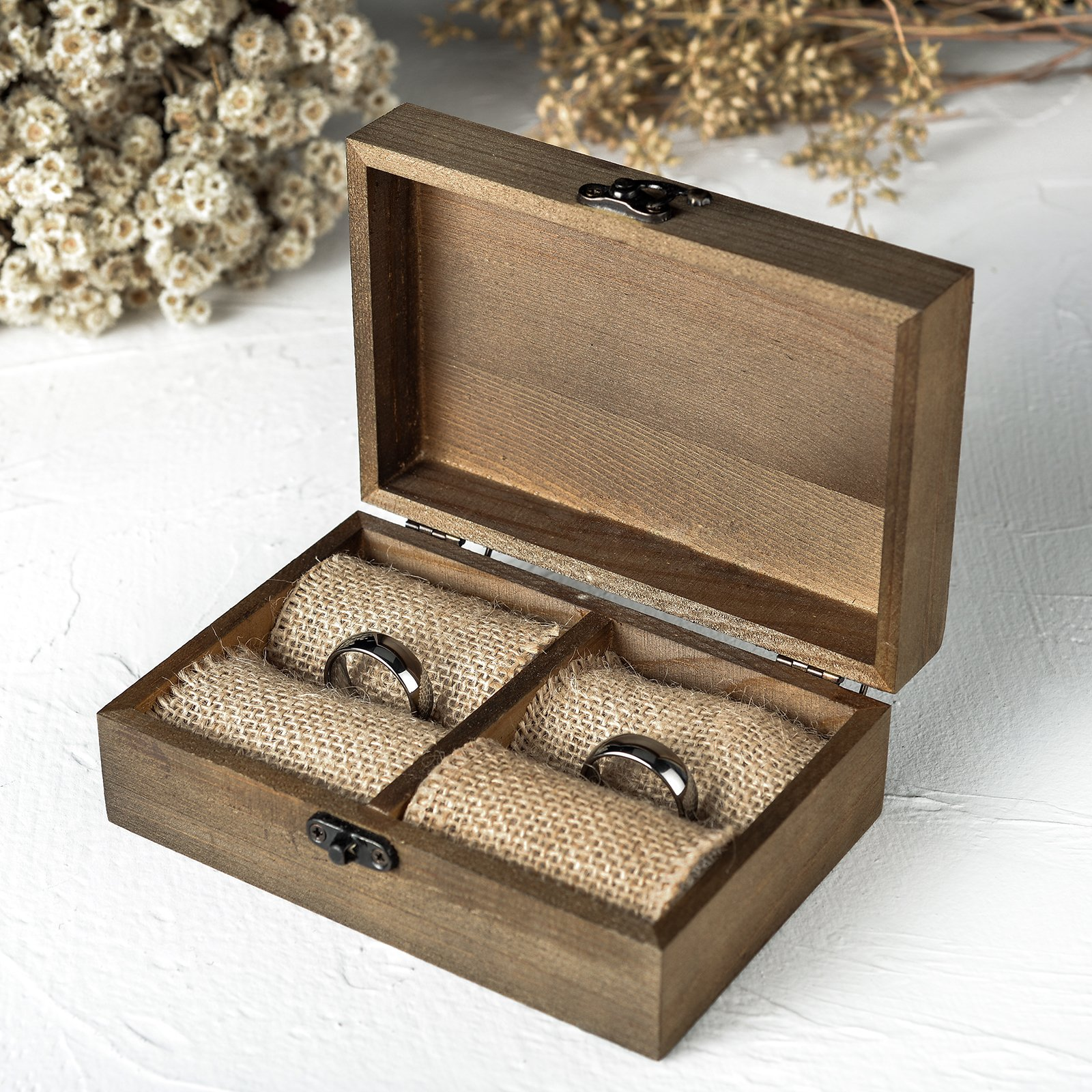 AW Wood Ring Box Rustic Ring Bearer Holder Decorative Wedding Engagement Jewelry Boxes 5.9'' x 3.9'' x 2.17''
