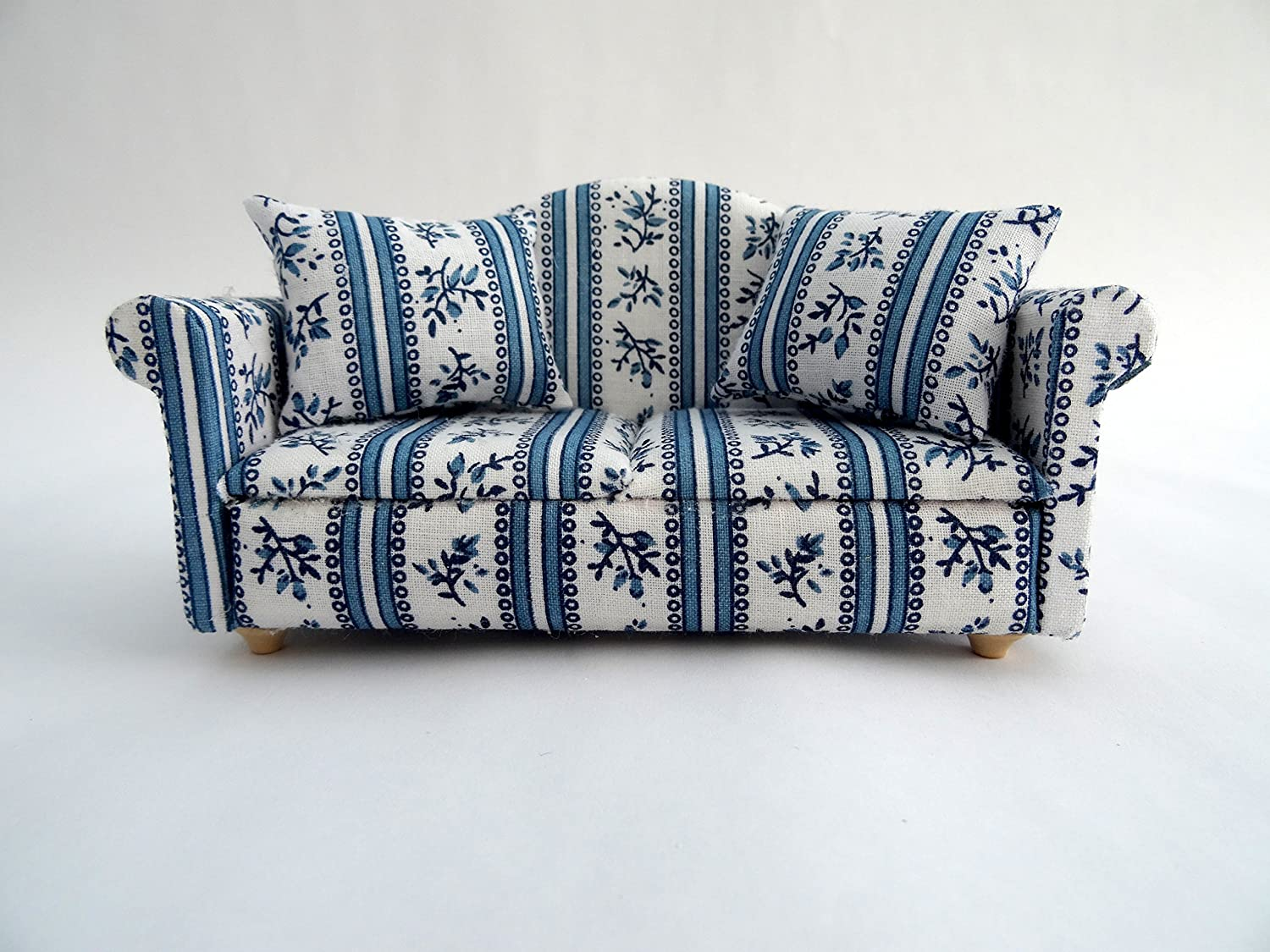 1/12th Scale Blue and White Dolls House Sofa Streets Ahead DF990