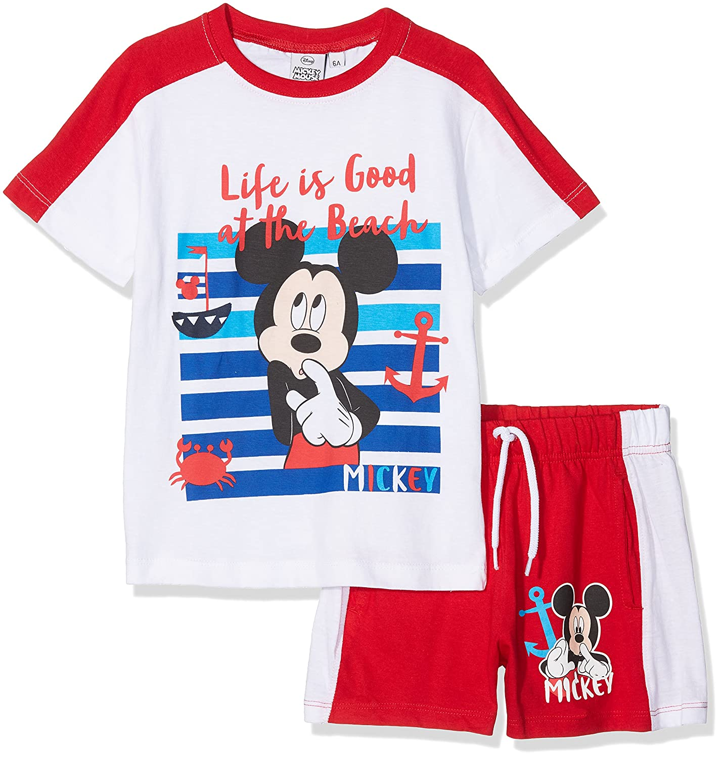 Disney Boy's Michey Mouse team Clothing Set, Red (Rosso), 128 (Manufacturer Size: 8Y) ER1428