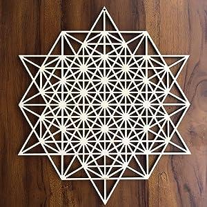 "ZenVizion 13.5"" 64 Star Tetrahedron Wall Art, Sacred Geometry Wall Art, Wooden Wall Art Decor, Yoga Wall Art Hanging, Laser Cut Artwork, Wall Sculpture Symbol, Gift purpose"