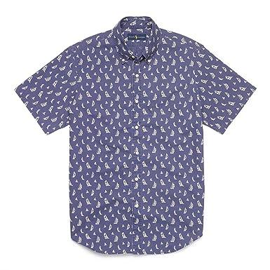 Ralph Lauren Mens Sailboat Printed Button-Down Shirt Blue S at ...