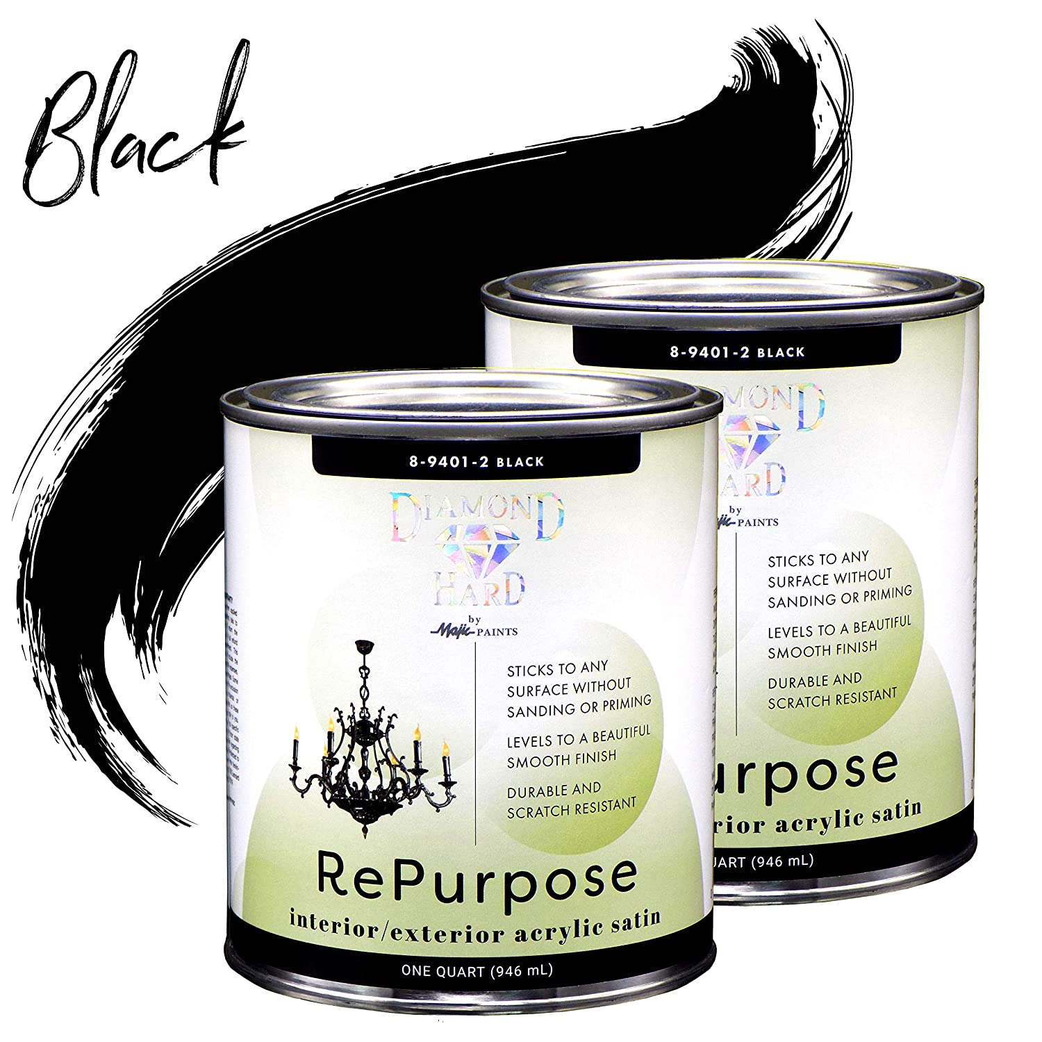 Majic Paints Diamond Hard Repurpose Chalk-Style Paint for Furniture and Cabinet, Interior or Exterior, 1-Quart, Black, 2-Pack