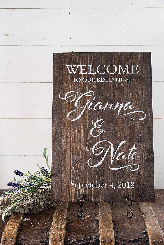 Cartel de bienvenida para boda, de madera rústica ...