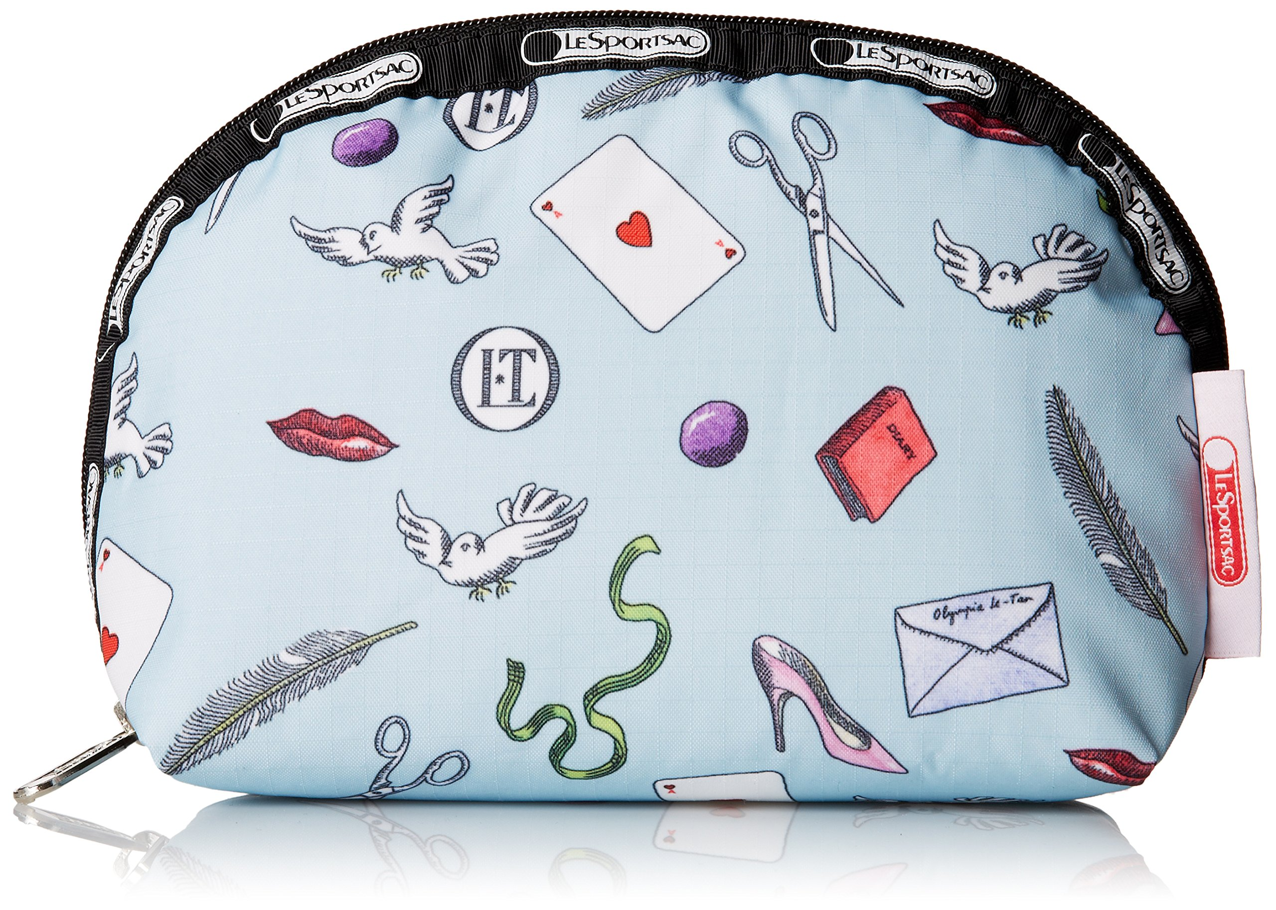 LeSportsac Medium Dome Cosmetic Case, Love Letters Blue, One Size by LeSportsac (Image #1)