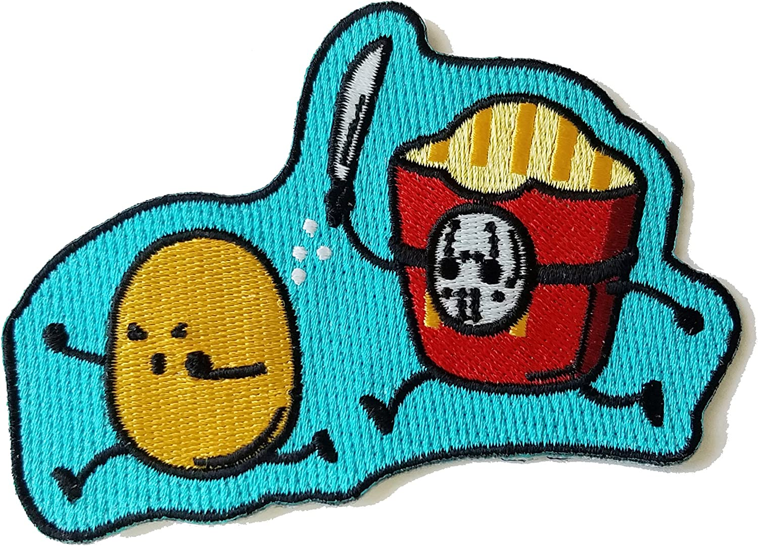 """Hat Shark """"French Fried Jason"""" Funny Horror Film Parody Novelty Iron On Patch Applique,silver,2.75"""" Tall by 4"""" Wide"""