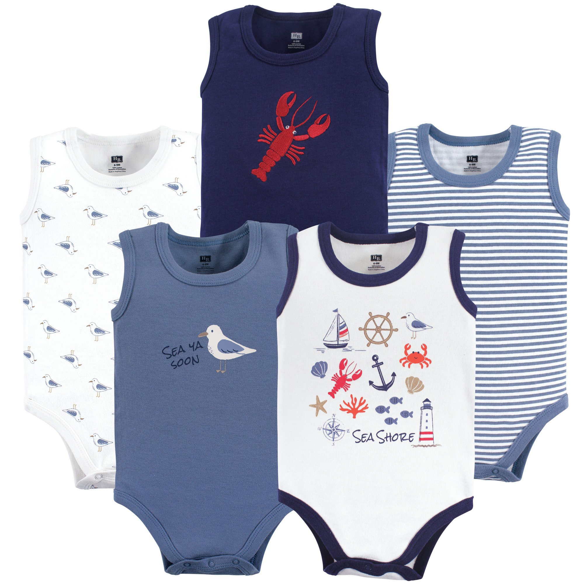 Hudson Baby Baby 5 Pack Sleeveless Cotton Bodysuits, Sea Shore, 12-18 Months