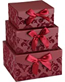 Red Swirl Nesting Elegant Christmas Gift Boxes, Set of 3, With Bows, Magnetic Closure