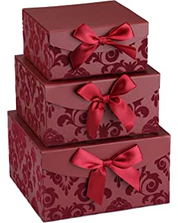 Amazon hallmark large solid color gift box light pink red swirl nesting elegant christmas gift boxes set of 3 with bows magnetic negle