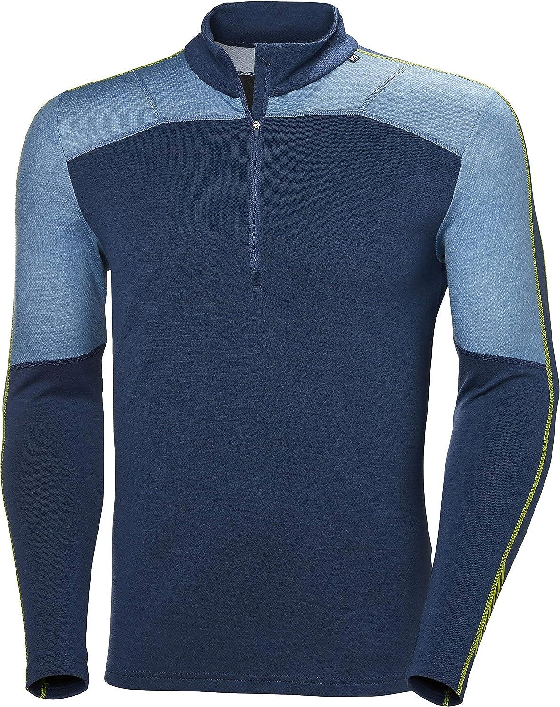 Helly Hansen Men's HH LIFA Merino Wool 1/2 Zip Lightweight Moisture Wicking Long Sleeve Thermal Baselayer Top